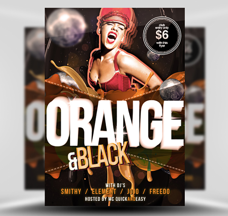 Black Orange Free PSD Party Flyer Template FlyerHeroes – Black Flyer Template