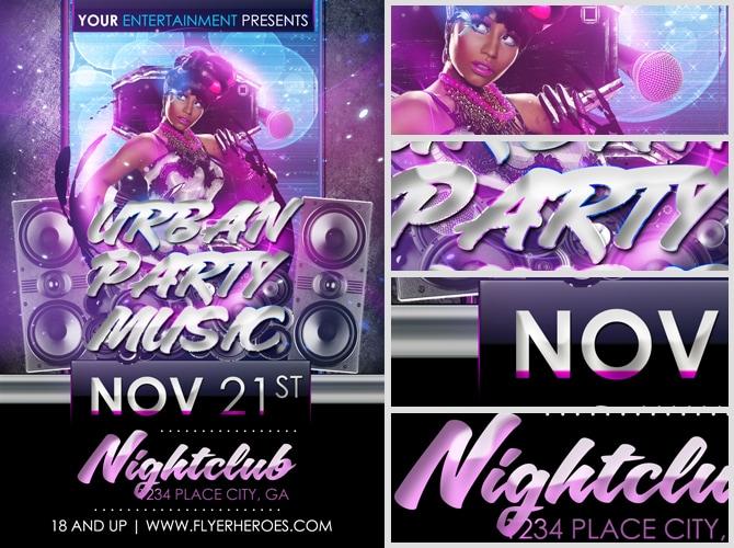 Urban Party Music Free Flyer Template FlyerHeroes – Music Flyer