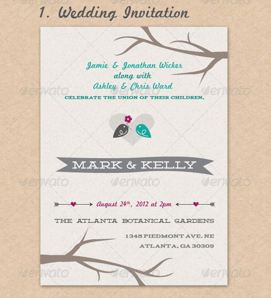 Lovebirds Wedding Invite