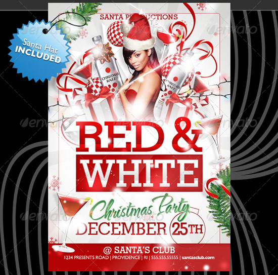 Red White Christmas Flyer Templates