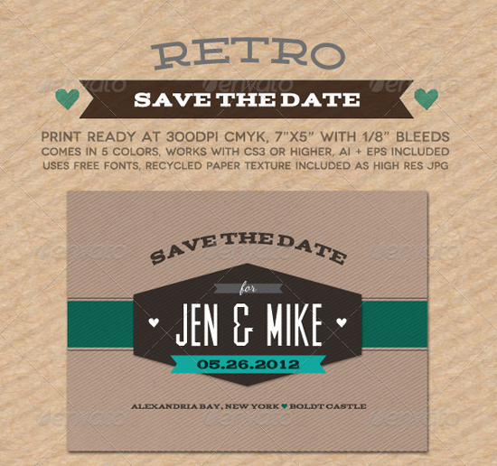 Retro Wedding Invitation Template