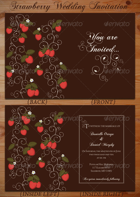 Strawberry Wedding Invitation Template