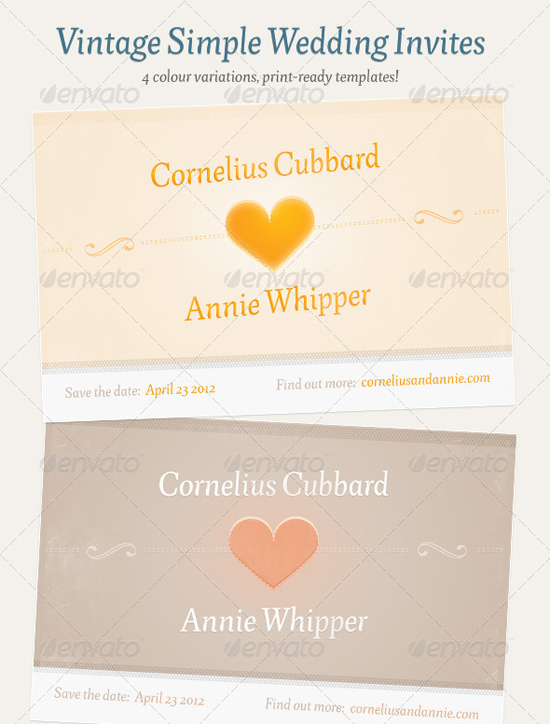 Vintage simple Wedding invitation Template