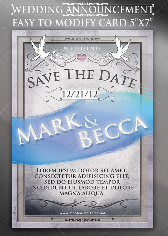 Wedding announcement card template