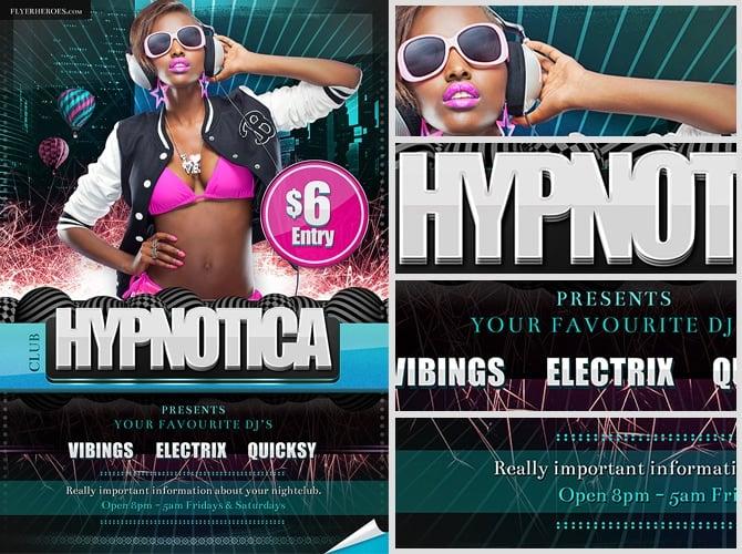 Hypnotica Free PSD Party Club Flyer Template FlyerHeroes