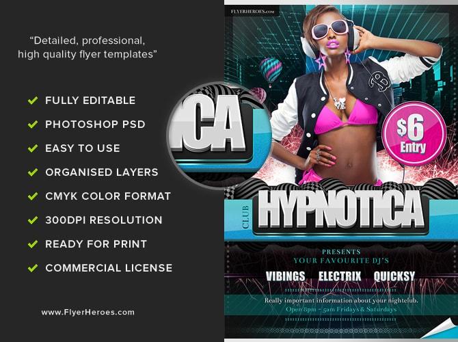 Hypnotica Free PSD Party Club Flyer Template FlyerHeroes – Club Flyer