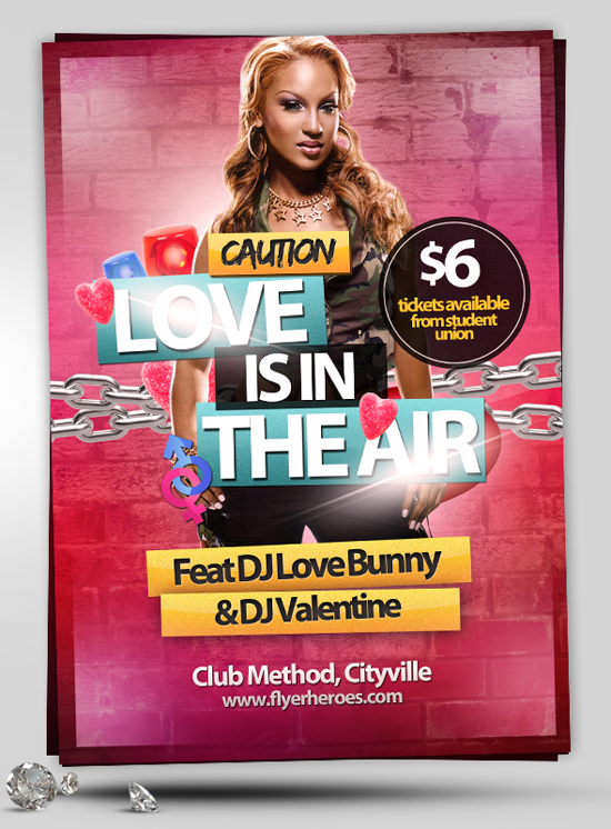 Love is in the Air Valentines Flyer Template