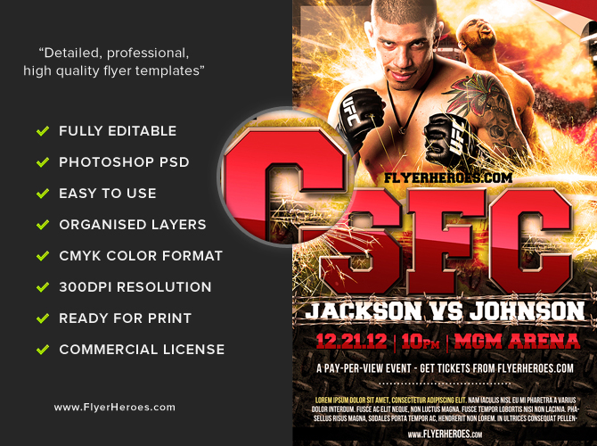 free mma fight night flyer template flyerheroes. Black Bedroom Furniture Sets. Home Design Ideas