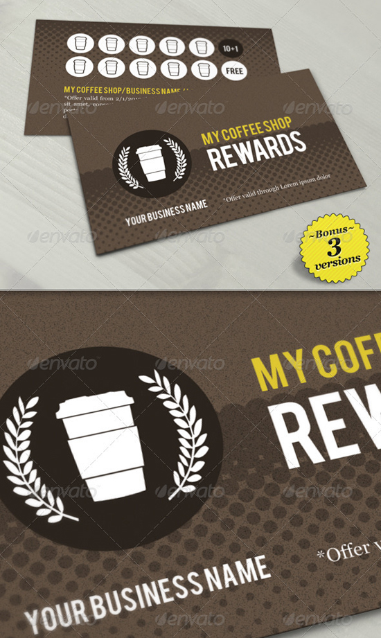 Coffee shop Loyalty Card Templates