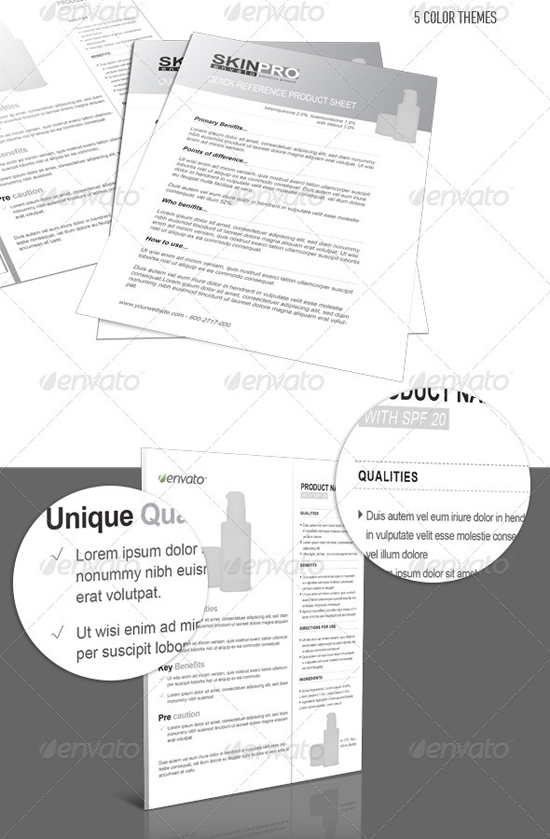 Product sheet indesign template