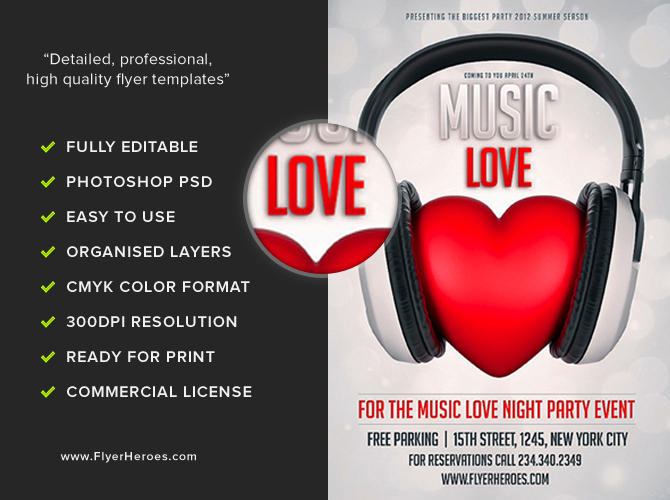 Free Music Love Flyer Template FlyerHeroes – Music Flyer