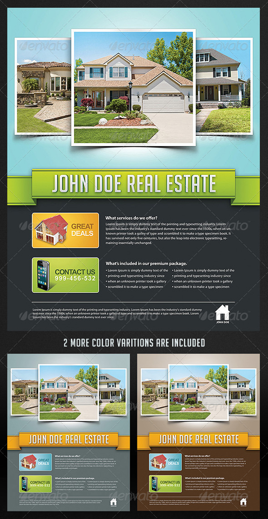 Corporate Real Estate Flyer Template by Saltshaker911