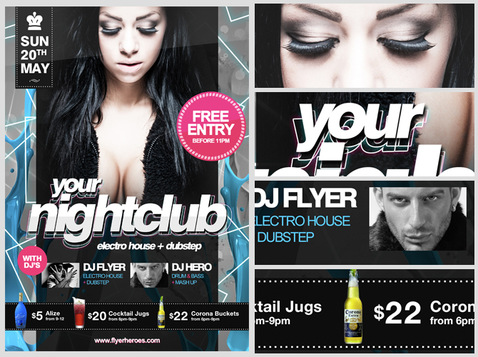 Free PSD Nightclub Party Flyer Template – Night Club Flyer