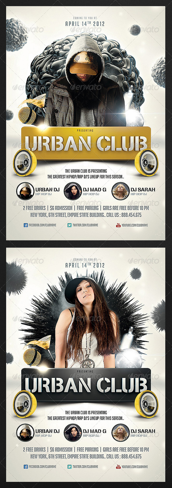 Urban Club flyer Template by Saltshaker911