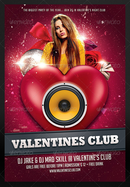 Valentine Club Flyer Template by Saltshaker911