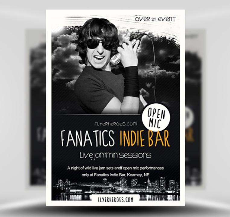 Fanatics Free Indie Bar Flyer Template Flyerheroes