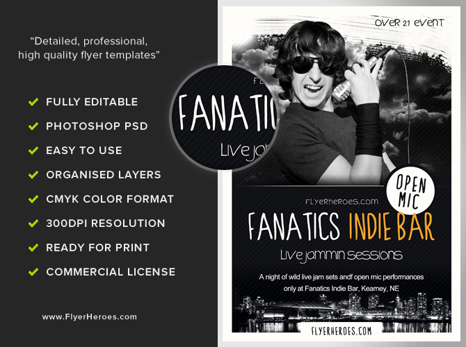 Fanatics Free Indie Bar Flyer Template