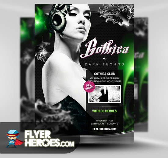 Gothica Free Techno Flyer Template