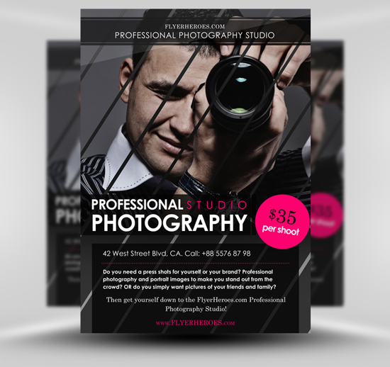 Free photography flyer templates for Photoshop templates for brochures