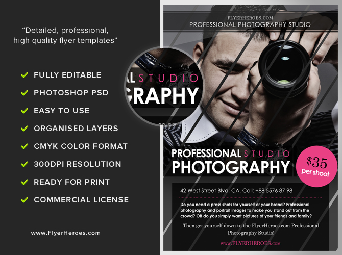 Free photography flyer templates for Free templates for brochures and flyers