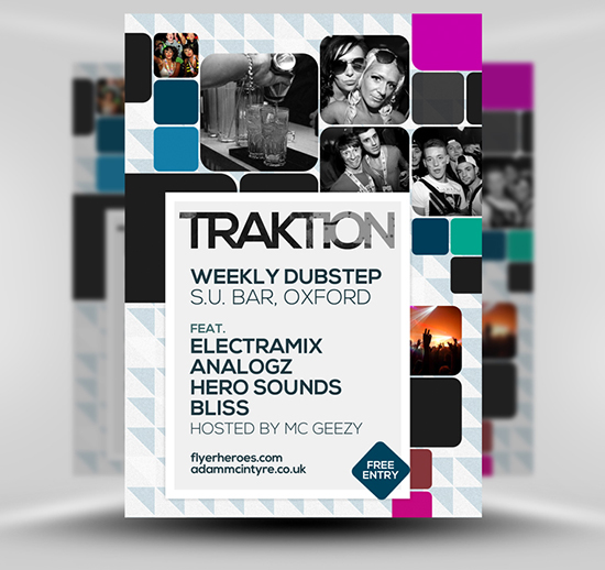 Traktion Free Student Night Flyer Template PSD