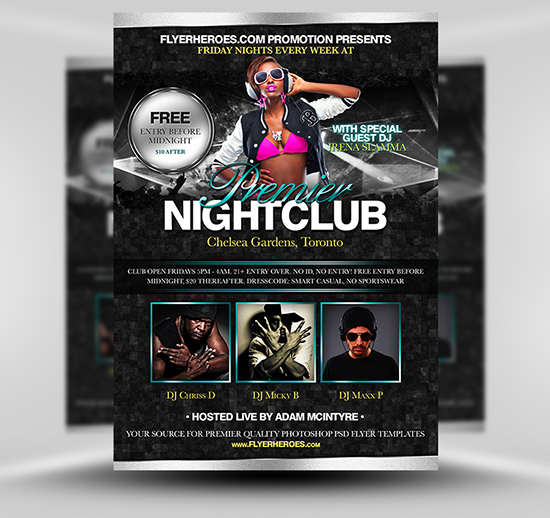Premier Free Nightclub Flyer Template – Night Club Flyer