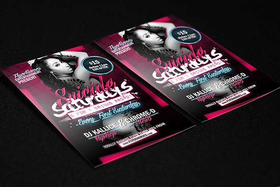 Suicide Saturdays Flyer Template Mockup 2