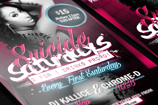 Suicide Saturdays Flyer Template Mockup 4