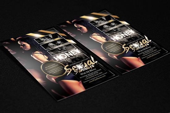 Honey Lounge Flyer Templates Mockups