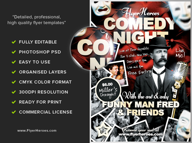 Free Comedy Flyer Template PSD – Comedy Show Flyer Template
