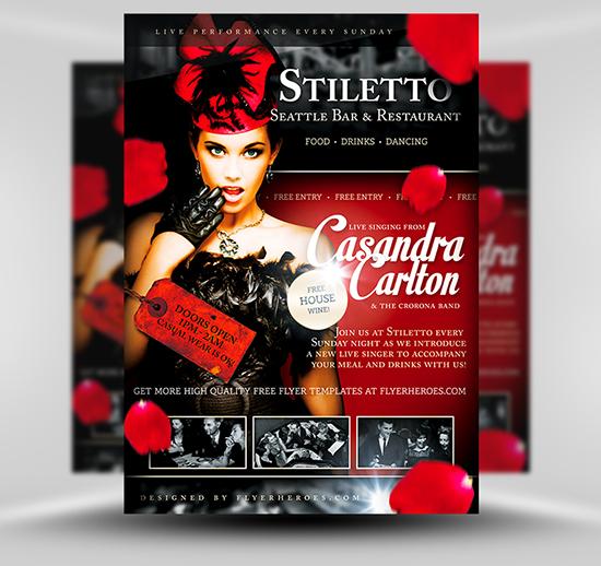Stiletto Free Restaurant Singer Flyer Template Flyerheroes