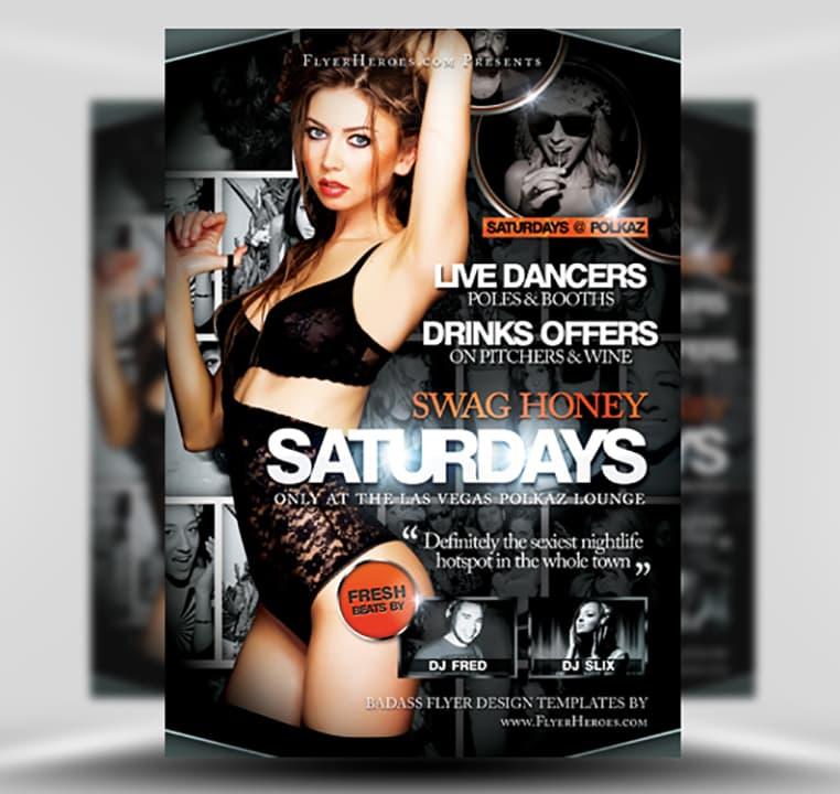 Swag Honey Saturdays Free PSD Club Flyer Template – Psd Club Flyer Template