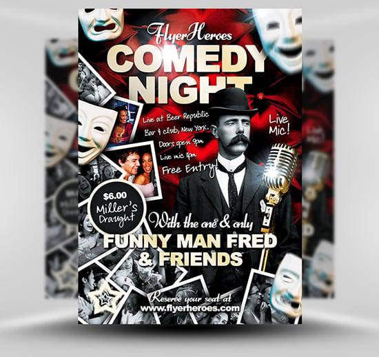 free comedy flyer template flyerheroes. Black Bedroom Furniture Sets. Home Design Ideas
