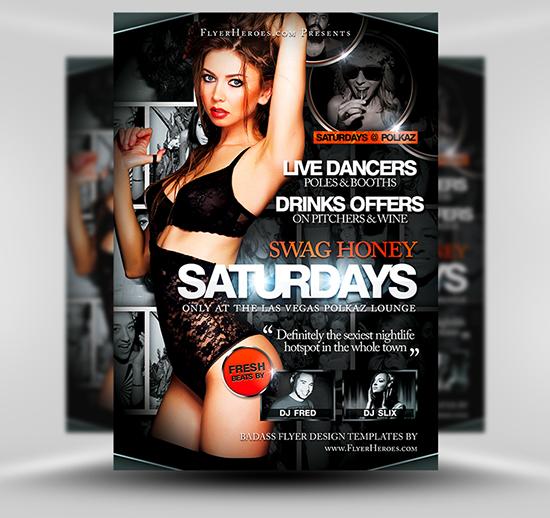 Swag Honey Saturdays Free PSD Club Flyer Template