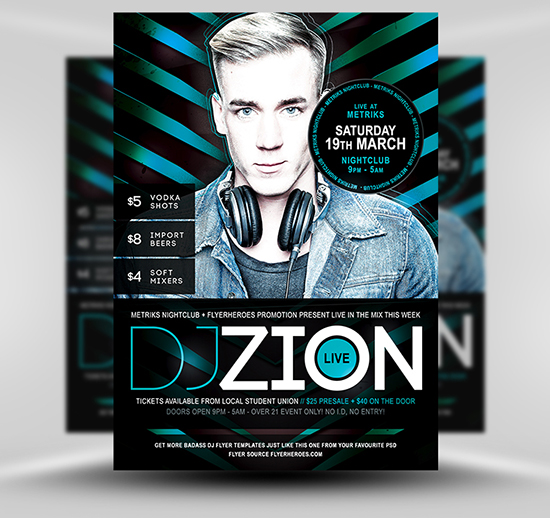 Zion Free DJ Flyer Template Colour Variation