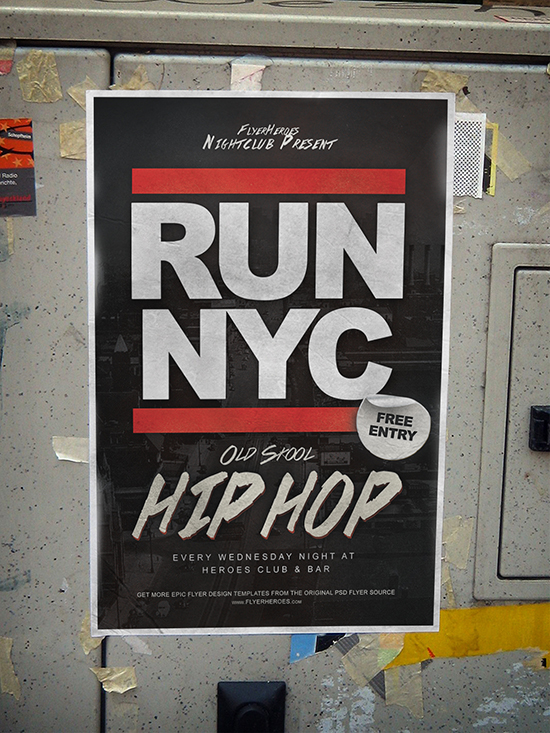 RUN NYC Free Old Skool Hip Hop Flyer Template