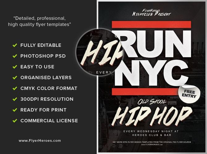 RUN NYC Free Old Skool Hip Hop Flyer Template – Psd Brochure Design Inspiration