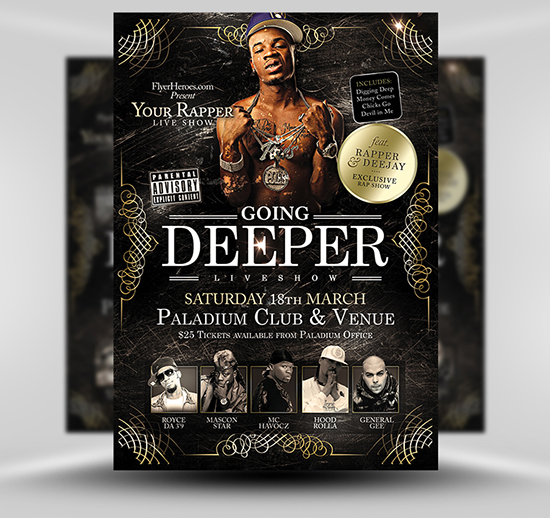 Going Deeper Free Hip Hop Flyer Template