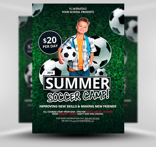 Free Summer Soccer Camp Flyer Template – Soccer Flyer Template