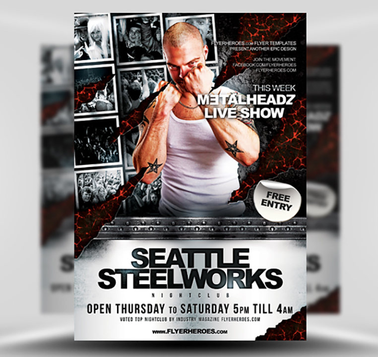 Steelworks Free Heavy Metal Rock Band Flyer Template – Band Flyer Template