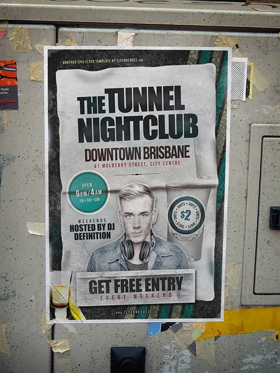 Tunnel Free Nightclub Flyer Template - FlyerHeroes