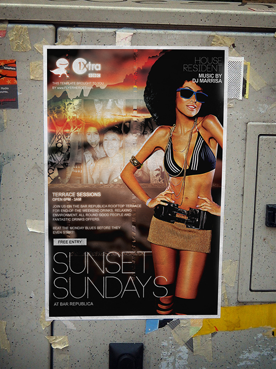 Sunset Sundays Flyer Template Mockup