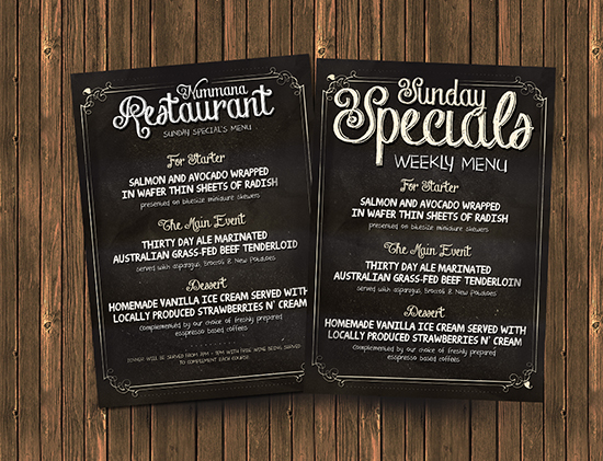 photoshop restaurant menu template .