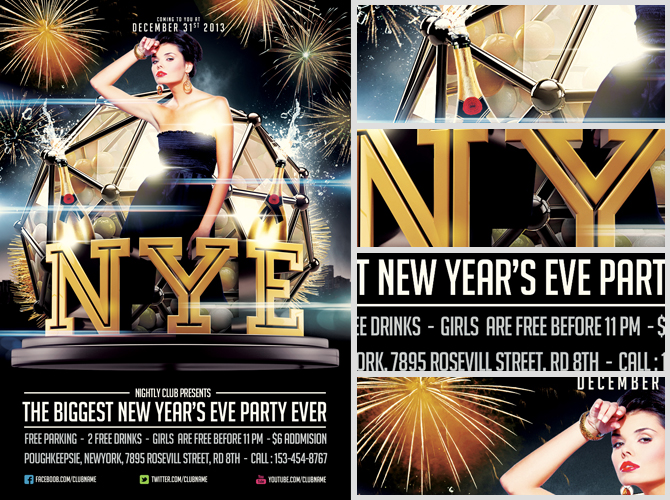 Free NYE Flyer Template by Saltshaker911 – Free New Years Eve Flyer Template