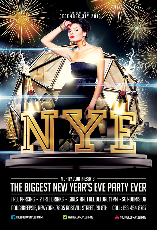 Free NYE Flyer Template by Saltshaker911