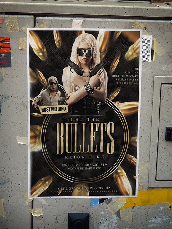 Bullets Flyer Template example poster mockup