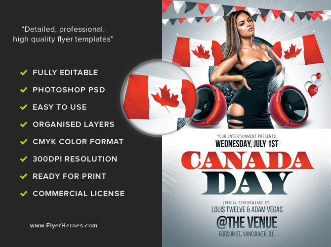 canada day flyer template flyerheroes. Black Bedroom Furniture Sets. Home Design Ideas