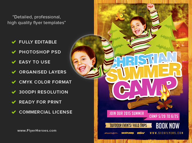 christian summer camp flyer template flyerheroes. Black Bedroom Furniture Sets. Home Design Ideas