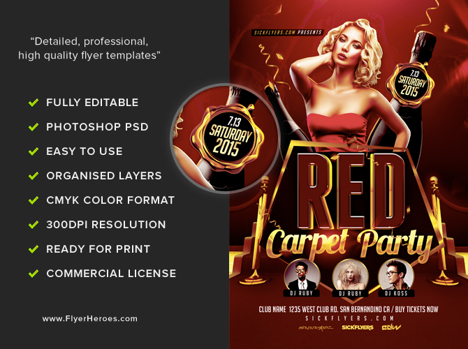 Red Carpet Event Flyer Template - FlyerHeroes