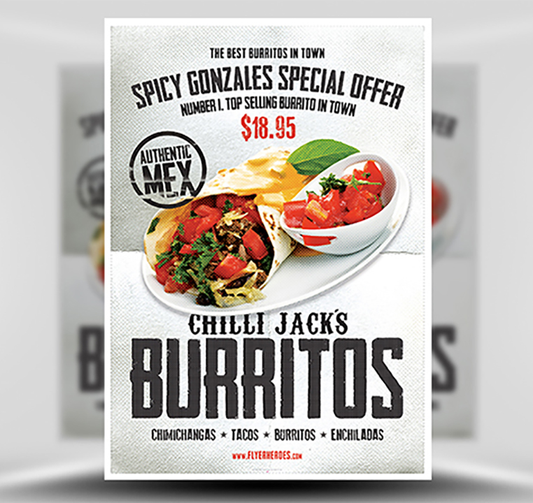 5 Quick Tips to Impress Clients and Get Work Approved | Chilli Jack's Burrito Poster Template | FlyerHeroes.com